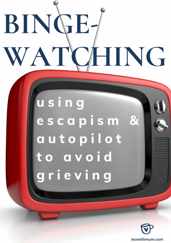 Binge-watching: using escapism & autopilot to avoid grieving: title with image of old red TV