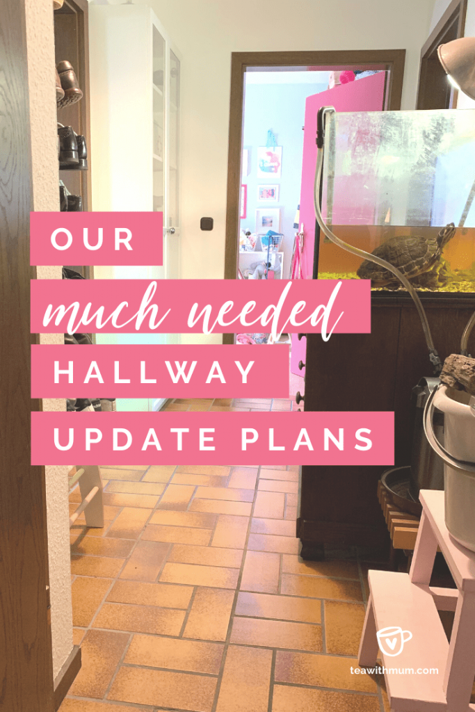 Our hallway update project plans - title with view of hallway