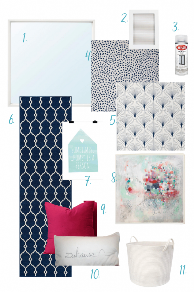 Our mostly navy and white mood board for our hallway update project.