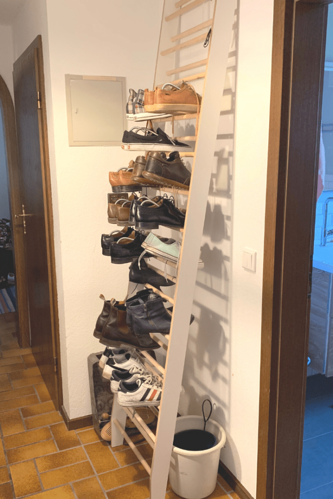 Our stylish but often overflowing shoe rack