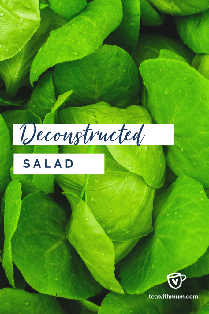 Deconstructed salad: title with image of a lettuce