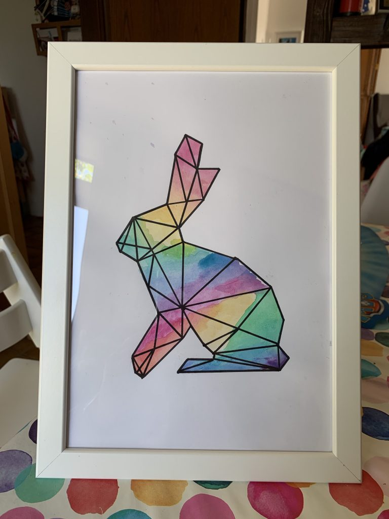Step 4: Frame and hang. Easy graphic watercolour bunny art, framed