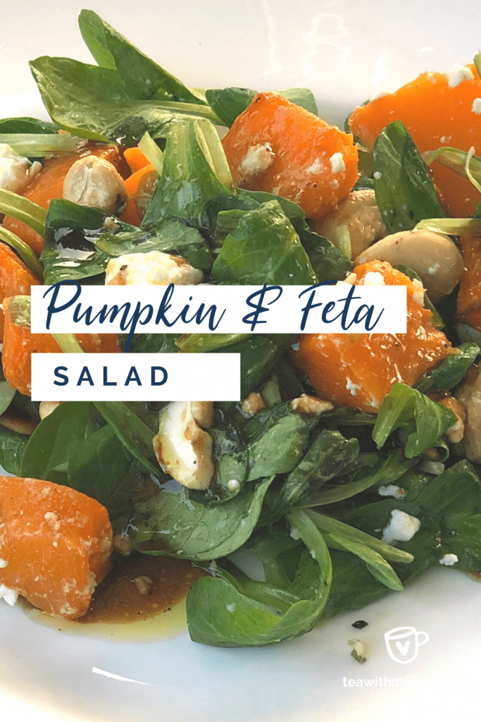 Tasty pumpkin and feta salad: title with close up of salad