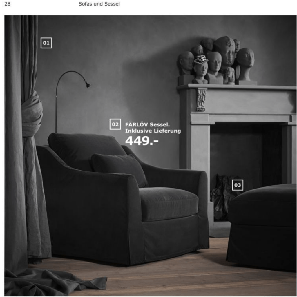 IKEA Catalogue page with sculptured heads
