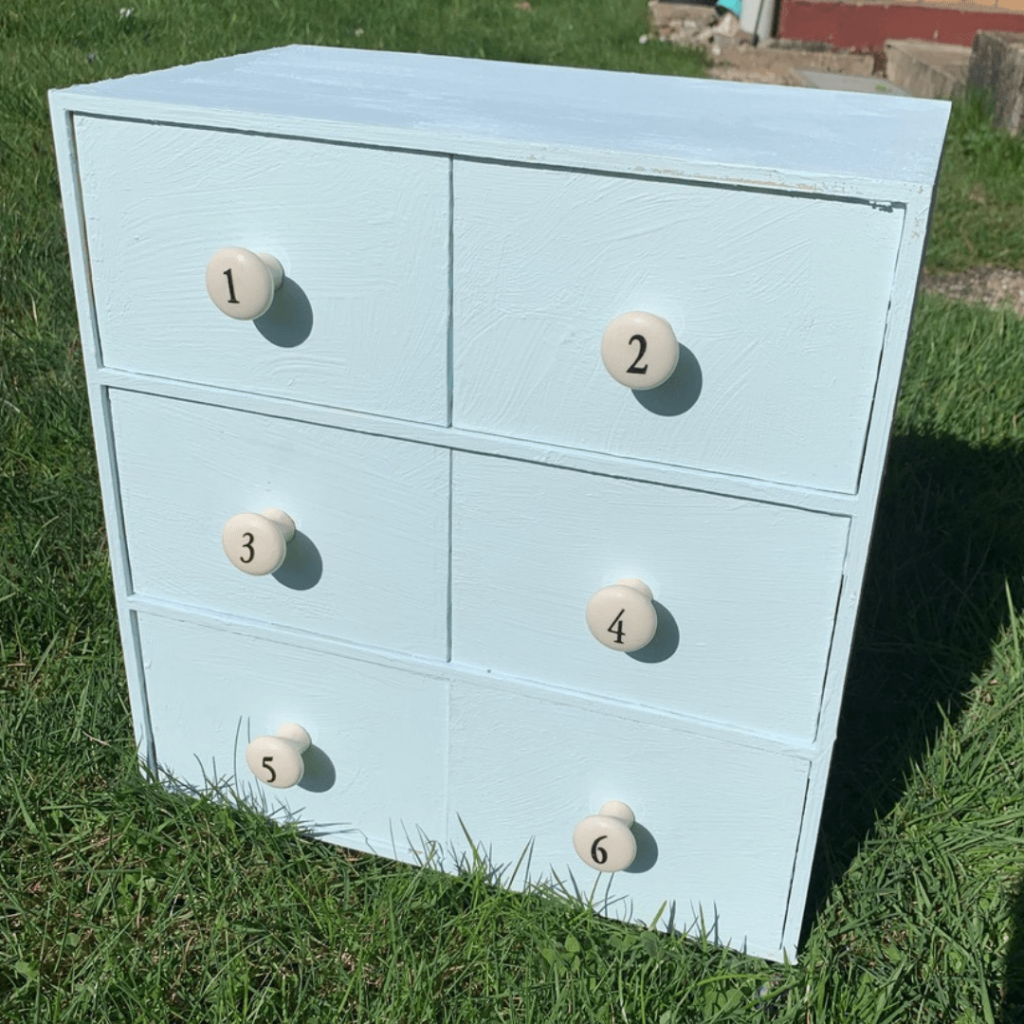 IKEA numbered drawers hack, prior to waxing