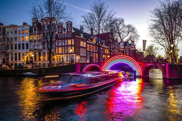 Rainbow light bridge for the Amsterdam Light Festival