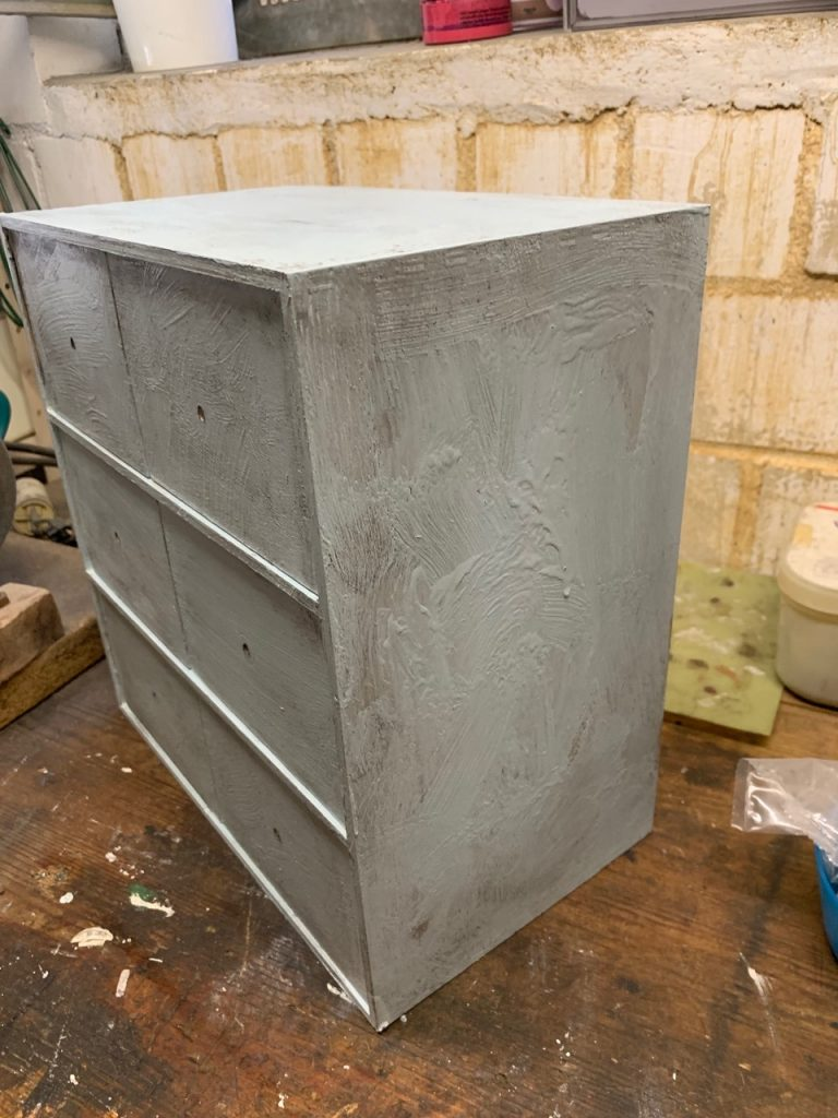 Moppe drawers showing paint effects of 3 y.o.