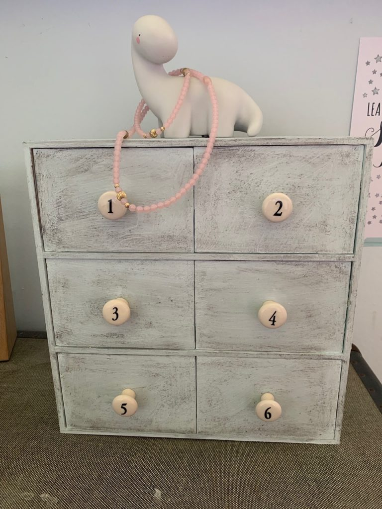 IKEA Moppe numbered drawer hack, complete with dino light