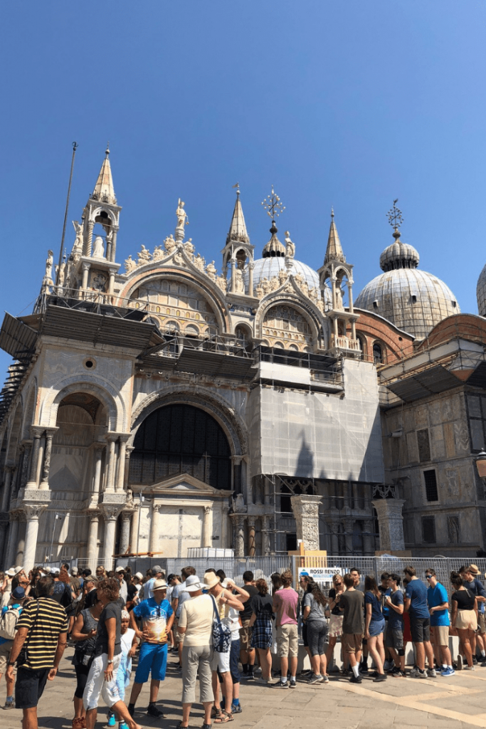 The queue for San Marco - Venice with a small child