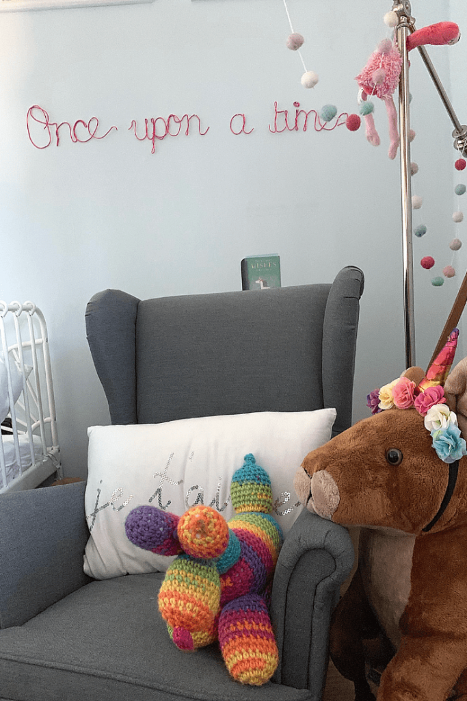 Reading corner with 'Once upon a time' handmade wire wall art