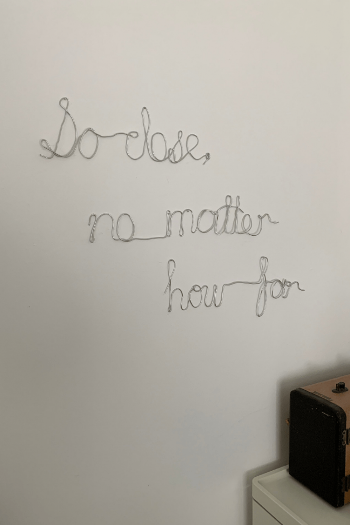 The handmade wire wall art for our anniversary