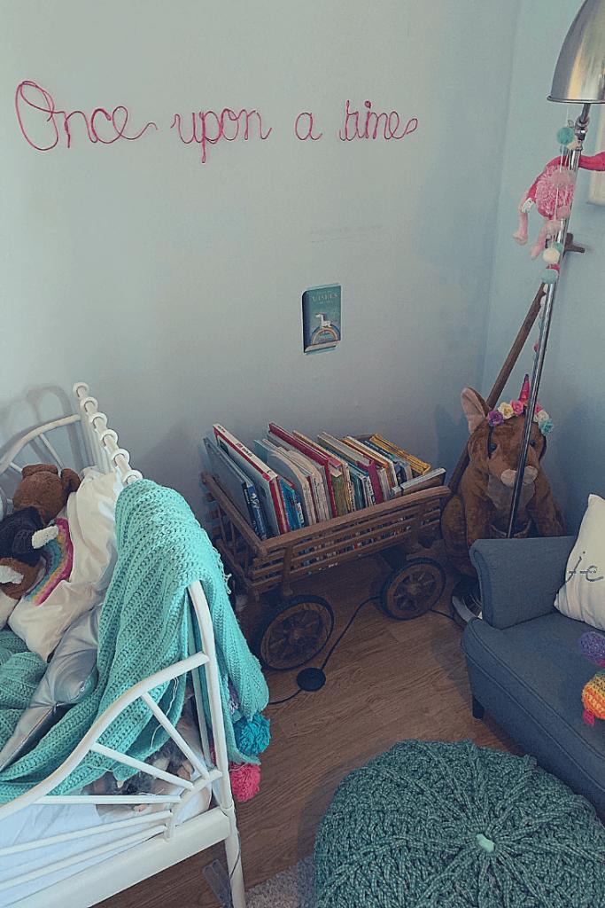 Reading corner with handmade wire wall art