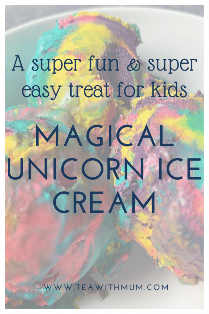 Magical unicorn ice cream: a super fun and super easy treat for kids; Ice ice, Baby! Image of a bowl of magical unicorn ice cream