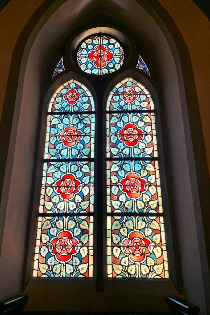 Stained glass in the chapel at Burg Castle in Solingen