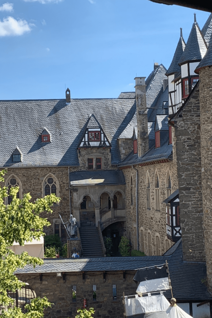 Castle entry, view from the battlements, Burg Castle in Solingen