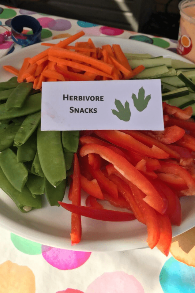 Healthy vegetable sticks/herbivore snacks and labels at our dinosaur-themed birthday party for a girl