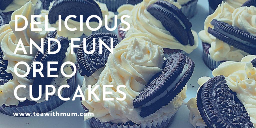 Delicious and fun Oreo cupcakes banner