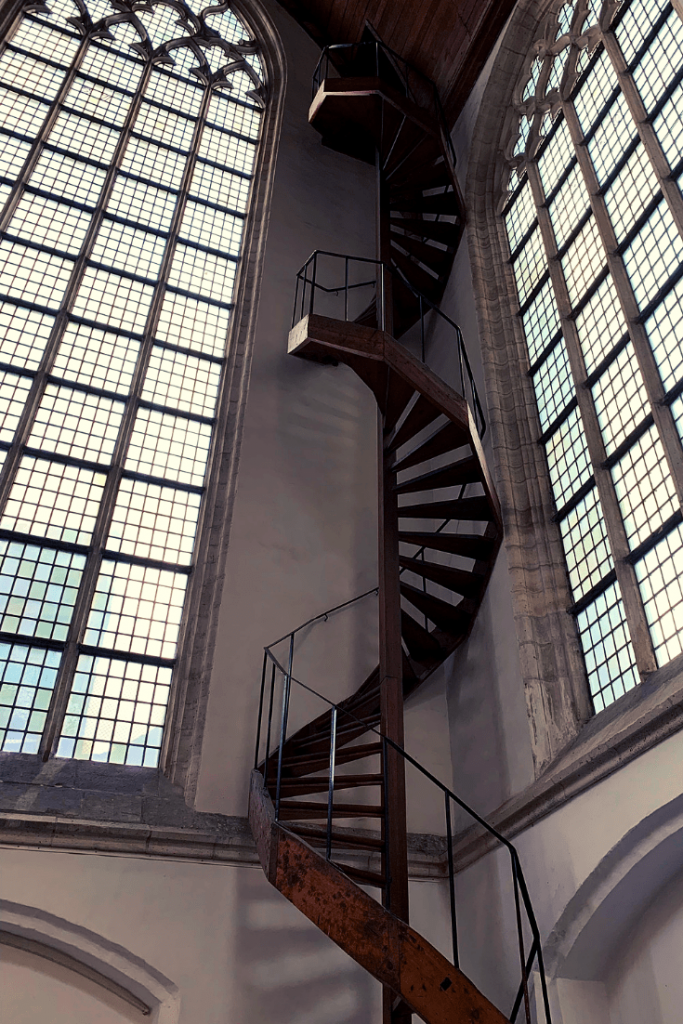 Gorgeous staircase in the Oude Kerk, Amsterdam, during the best trip ever