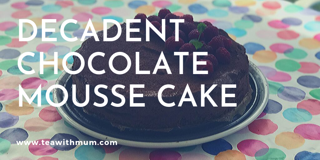 Decadent chocolate mousse cake  with raspberries