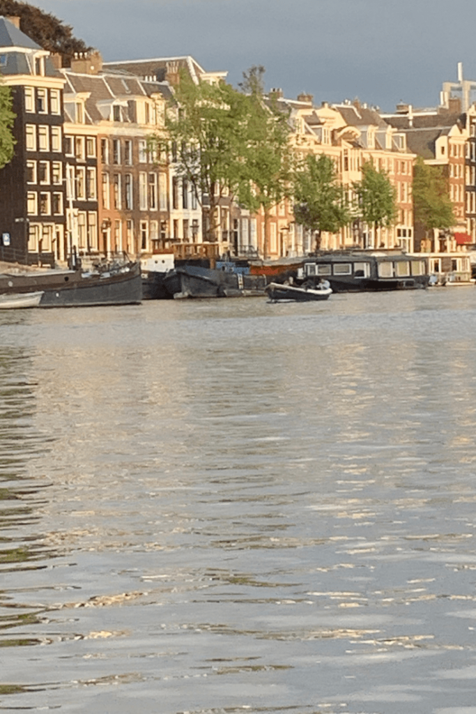 Sunlight on the canal houses in Amsterdam during our mother-daughter trip, the best trip ever