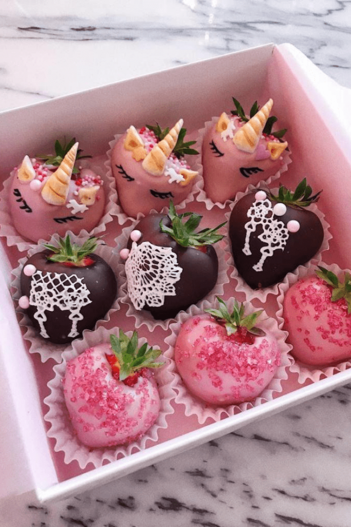 Delicious box of chocolate-covered strawberries with unicorn strawberries from Polaberry