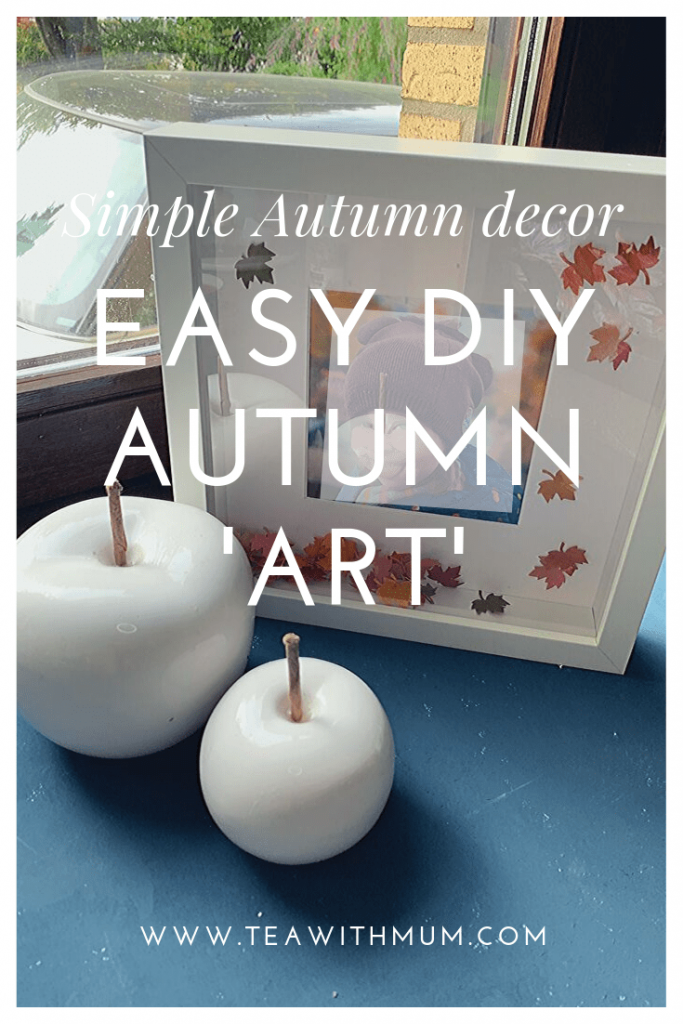 Simple Autumn deco: Easy DIY Autumn art (picture frame snow globe), napkin pumpkins and some ceramic pumpkins: with photo of one frame and apples