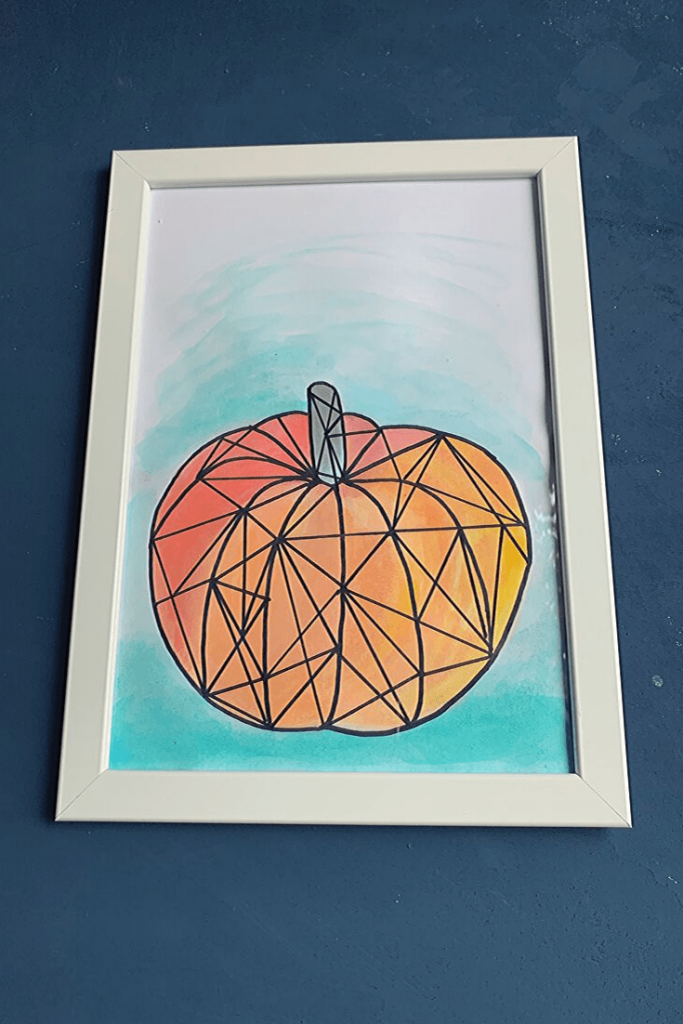 Easy geographic watercolour pumpkin art: easy Autumn decor