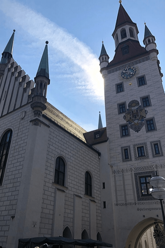 Alte Rathaus on Marienplatz in Munich, a brief stop on our walking tour. The Toy Museum can also be found in the building, which is otherwise now mostly used for ceremonial purposes.