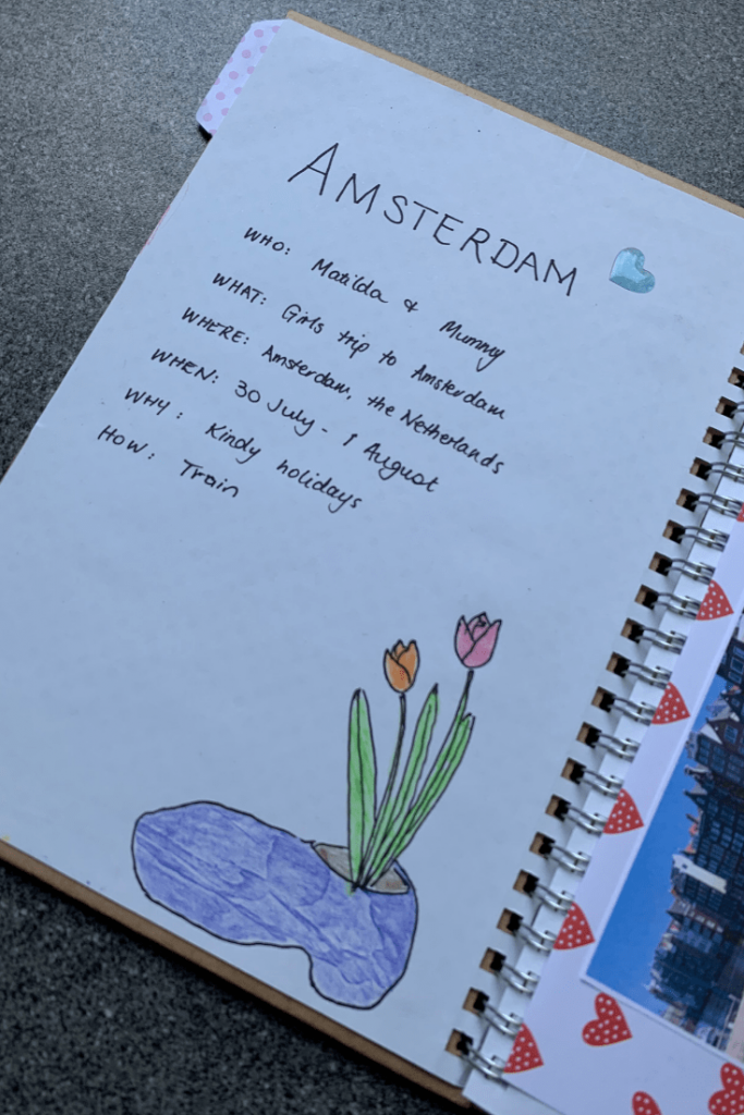 How to make a travel journal for a child: Destination overview, here Amsterdam overview, with drawing of clog and tulips