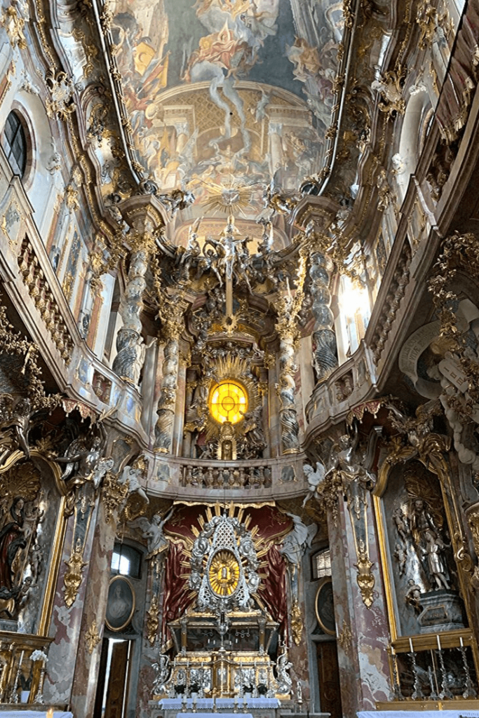 The impressive but full on beauty of the Asam Kirche or St-Johann-Nepomuk-Kirche. While it is almost overwhelming, it is definitely worth a visit on a Munich walking tour.
