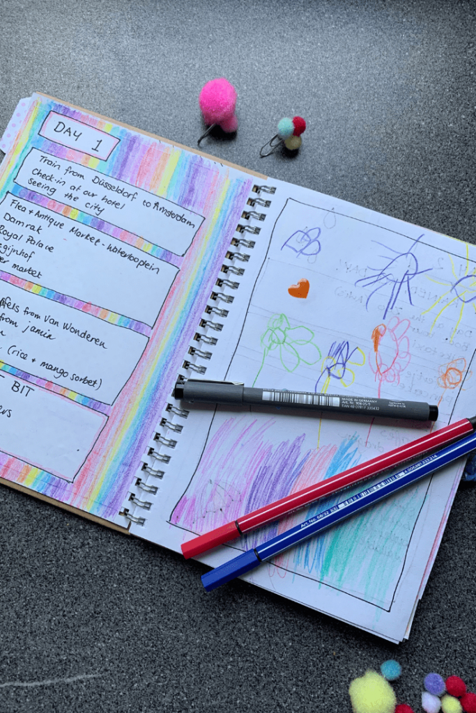 How to make a travel journal for your child: daily entry. Example from our first entry for Amsterdam