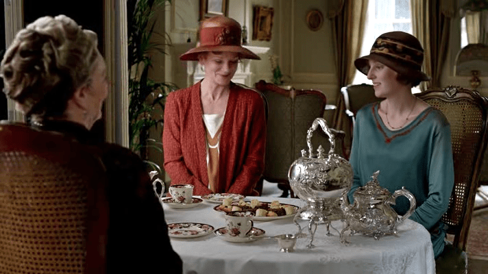 """Afternoon tea scene from """"Downton Abbey"""" Season Four {Photo credit: Carnival Films}"""