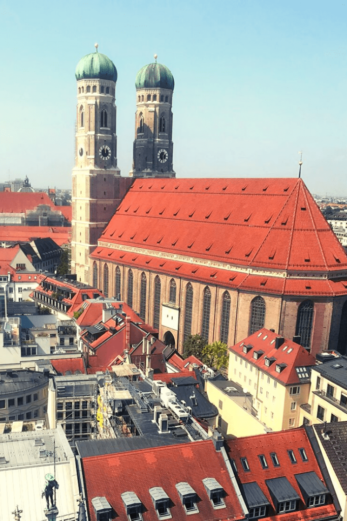 Frauenkirche, or  Dom zu Unserer Lieben Frau, in Munich, the most famous silhouette in the skyline; photo taken from the tower of the Neue Rathaus