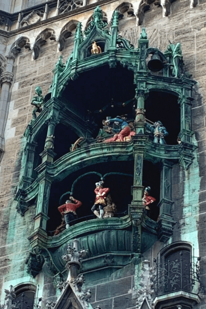 The famous Marienplatz Glockenspiel in Munich. Plays at 11 a.m. and 12 p.m. as well as 5 p.m. in Summer
