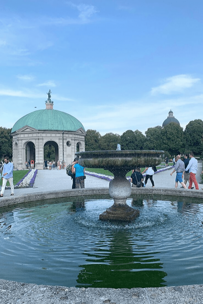 Hofgarten with Diana Temple and fountain, a green oasis in the old city on our Munich walking tour.