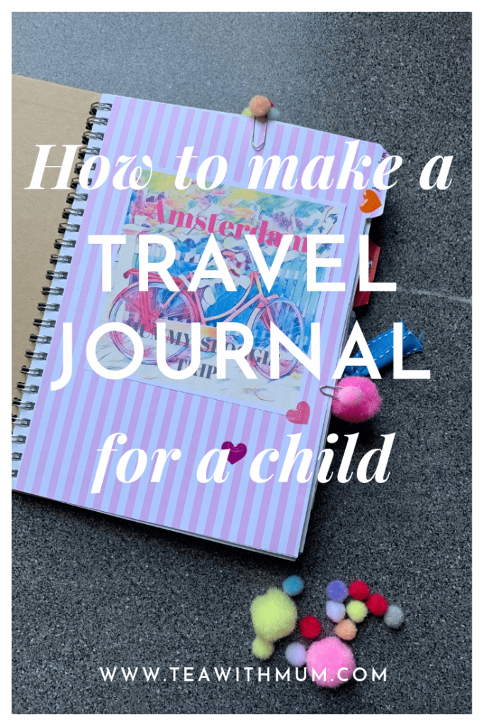 How to make a travel journal for a child: title with start of Amsterdam trip section as image and three bookmarks in use