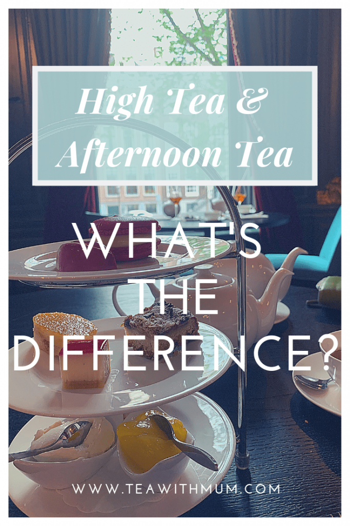 High tea & afternoon tea: What's the difference; title with image of afternoon tea at the Handbag Museum in Amsterdam overlooking the canal
