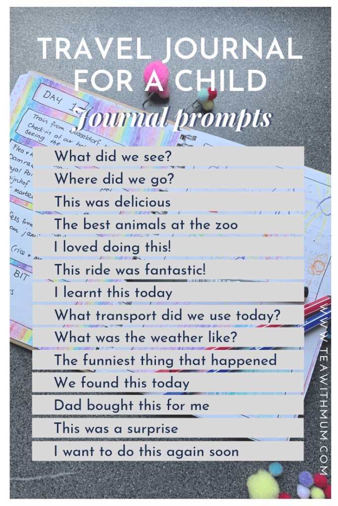 Travel journal for a child: prompts and questions list