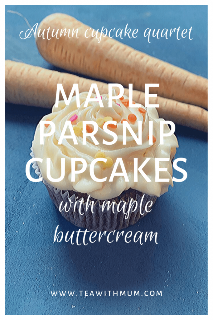 Maple Parsnip cupcakes with maple buttercream: Autumn cupcake quartet; cupcake with parsnips on a blue background