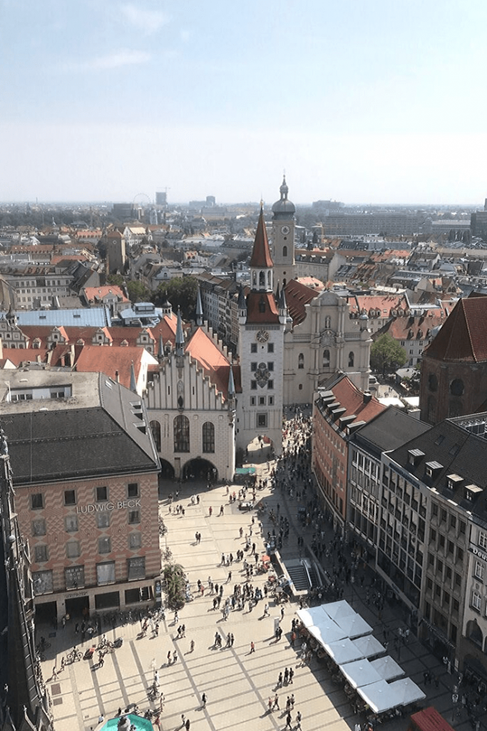 View from the top of the New Townhall tower, where everything looks like it is in miniature. Here the view is of Marienplatz with the Ate Rathaus.