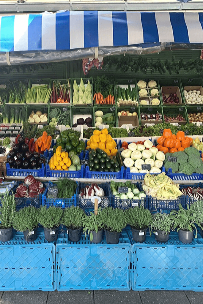 Vegetables and herbs at a stall in the Viktualienmarkt, the next stop on our walking tour of Munich. Grab something for a picnic or snack in the Hofgarten or find a table and try some traditional foods and beer in the Biergarten.
