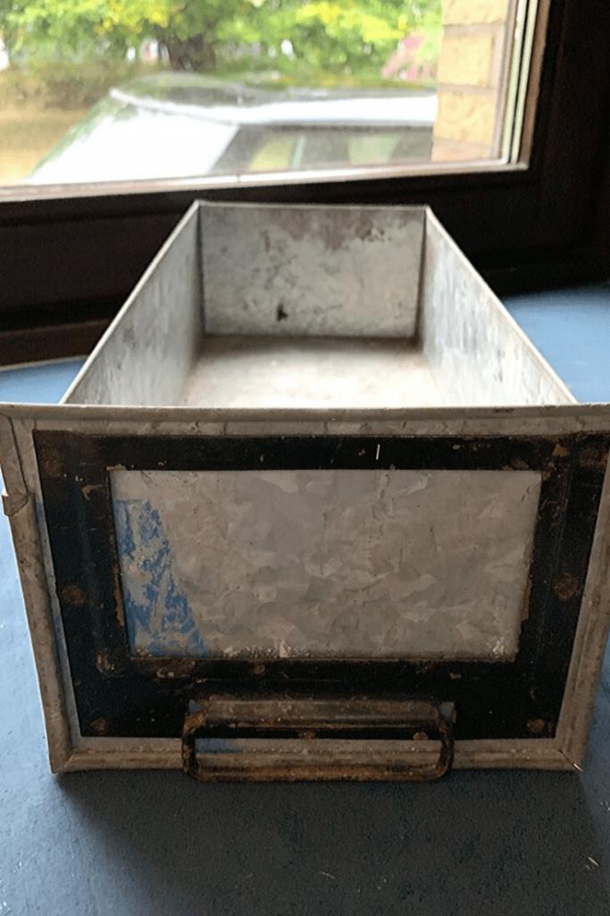 Metal filing drawer, with handle, a flea market find at the Zöppkesmarkt 2019