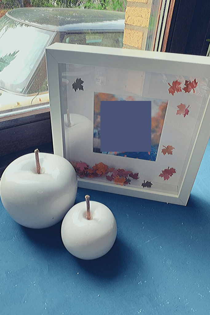 Easy DIY Autumn 'art': step 5 & 6 fill with leaves, add photo and enjoy; how to create a Fall picture frame 'snowglobe'