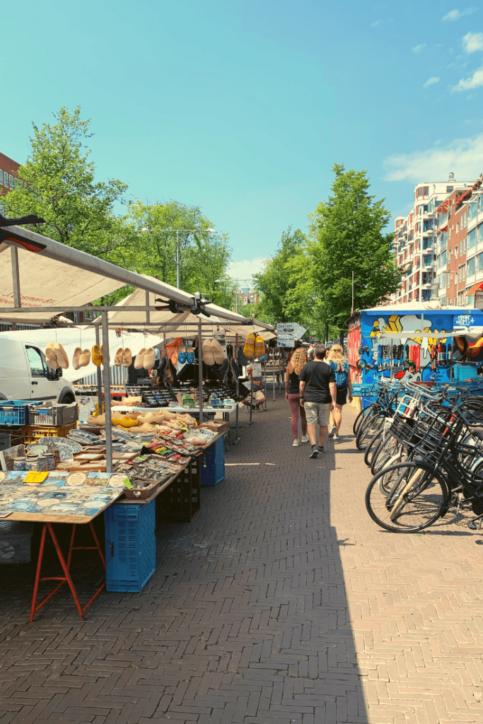 Reason #4 why Amsterdam is a great place to visit with kids of all ages: shopping, here the market on Waterlooplein