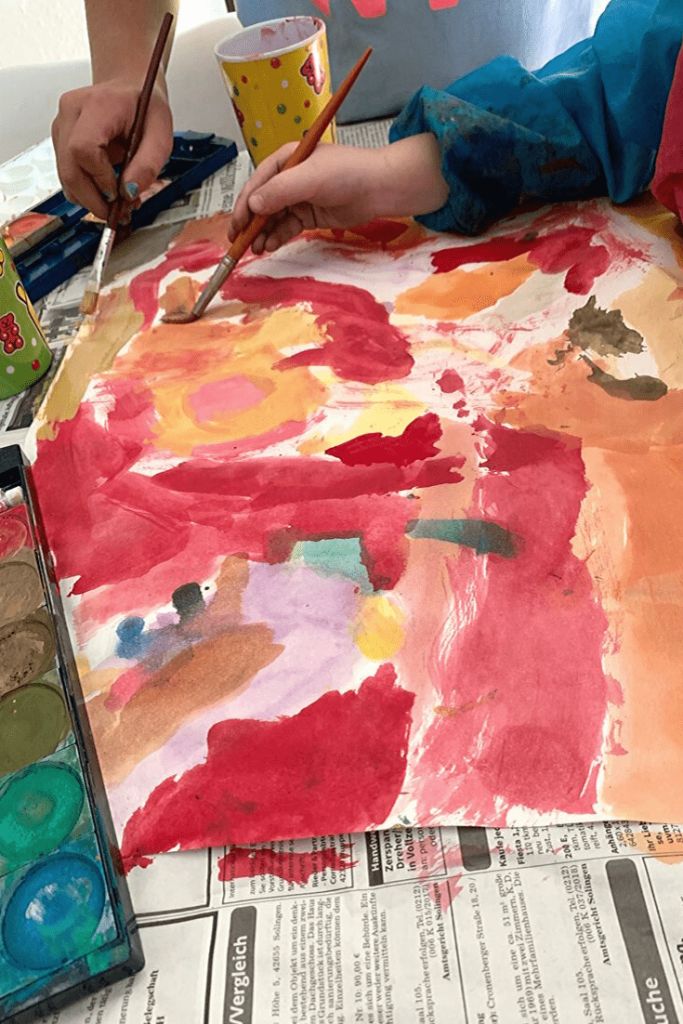 Easy DIY Autumn 'art': step 1: paint the paper; how to create a Fall picture frame 'snowglobe'