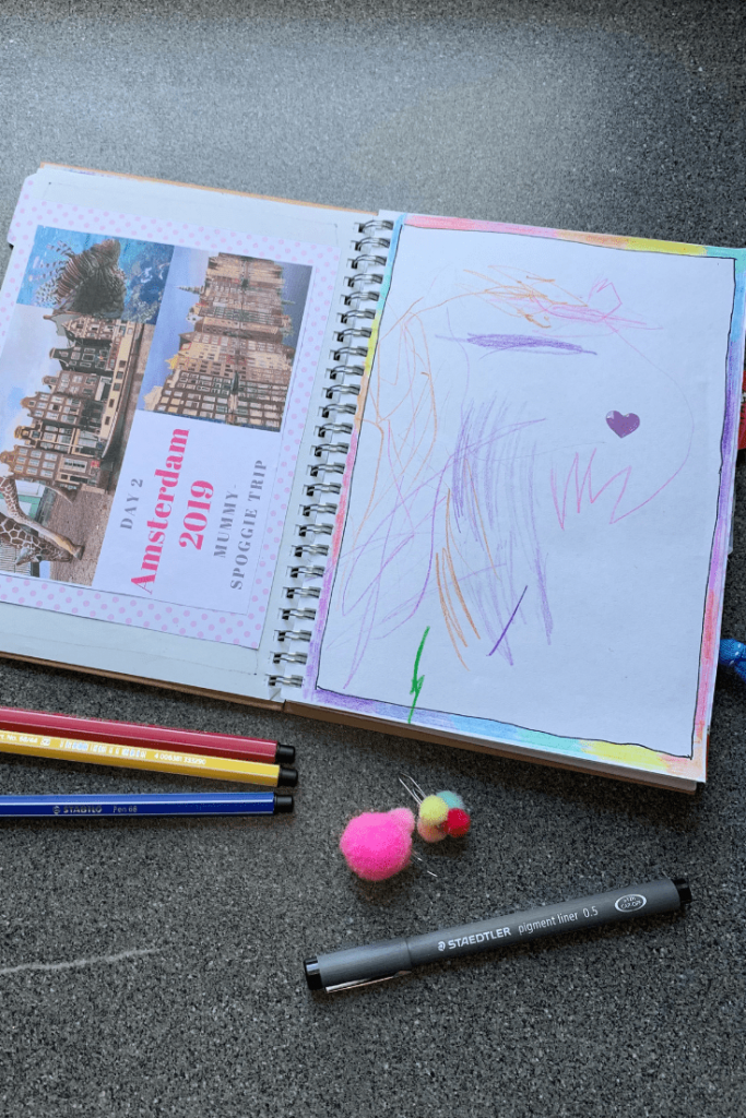 How to make a travel journal for a child: photo collage and child's drawing