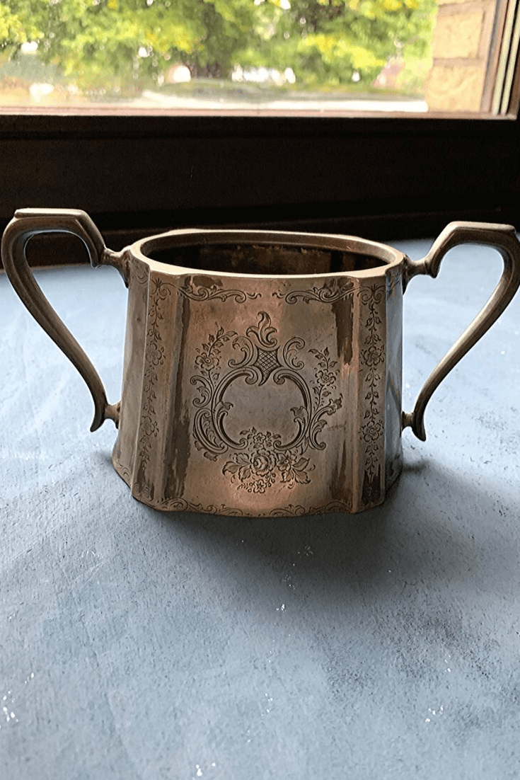 Antique, double-handled, silver-plated sugar bowl, missing a lid, a flea market find at the Zöppkesmarkt 2019