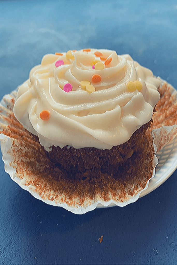 Ready for devouring: maple parsnip cupcake with maple cream cheese frosting and Autumn coloured sprinkles: Autumn cupcake quartet