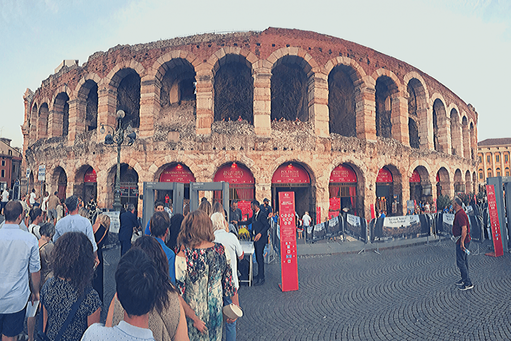 The Arena in Verona, letting in the crowds to see Aida