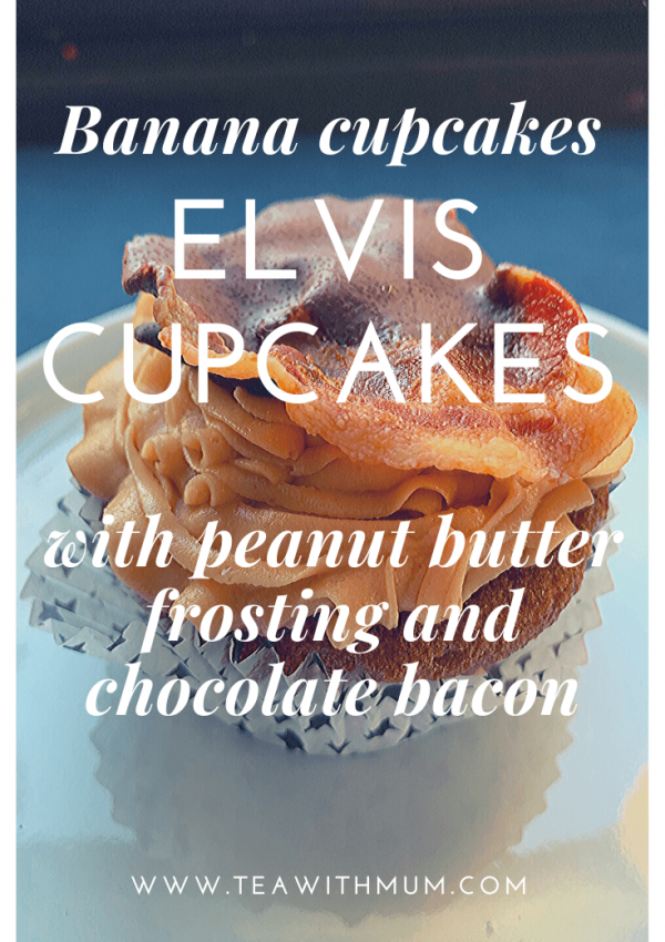 Elvis cupcakes: a hommage to Elvis Presley, based on his favourite sandwich - banana cupcakes, creamy peanut butter frosting and chocolate-dipped bacon: delicious, memorable and fun